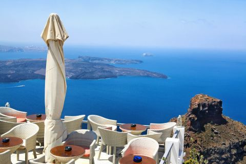 Panoramic view of the Aegean blue and Skaros Rock