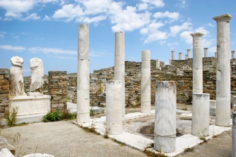 Ancient columns and statues in Delos