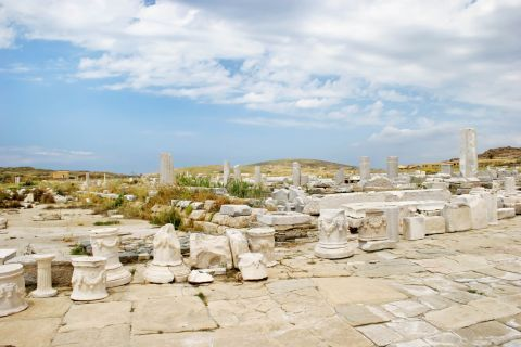 Ancient ruins in the island of Delos in Cyclades