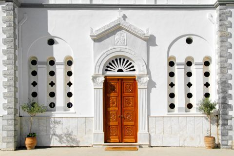 Panagia Theoskepasti: The whitewashed church of Panagia Theoskepasti and its wooden door