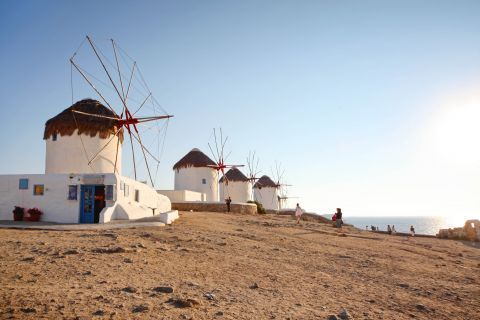 Windmills: Traditional Cycladic windmills of Mykonos