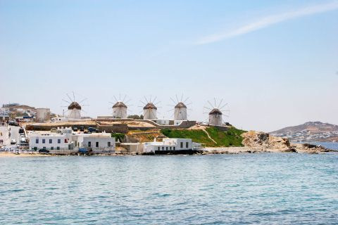 Windmills: The Cycladic windmills in Mykonos stand out and can be seen from distant spots