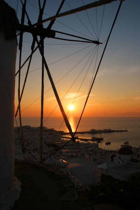 Windmills: Scenic sea view from a windmill during sunset