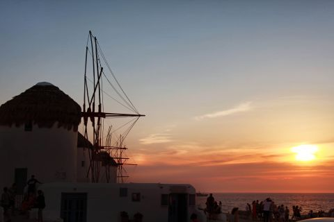 Windmills: Scenic view of Cycladic windmills during sunset