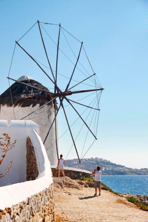 Windmills: A traditional windmill in Mykonos