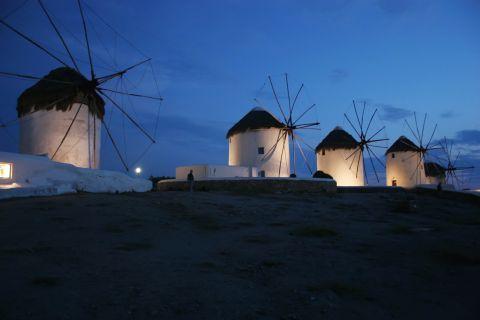 Windmills: Cycladic windmills during night time