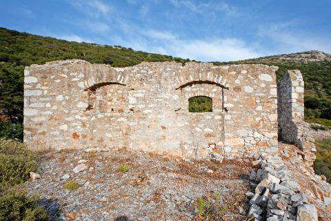 The ancient remains of a stone built building in Paros