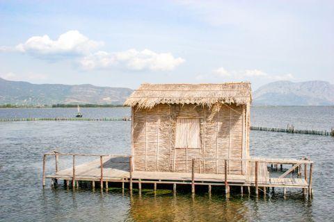 Sea Lake: A wooden cabin.