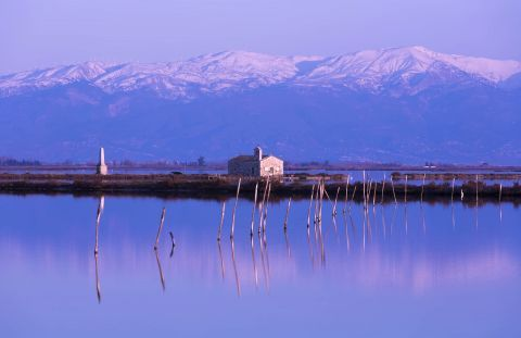 Sea Lake: A picturesque chapel in the middle of the Sea Lake in Mesolongi