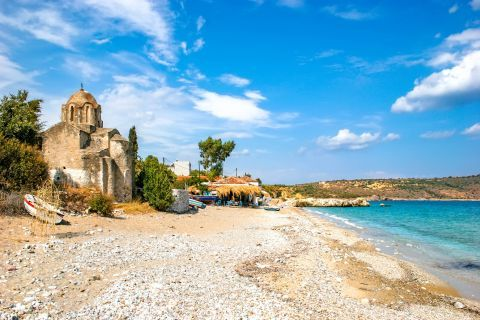 Church of Agia Varvara: The old, stone-built church dedicated to Agia Varvara stands right on the coast side.