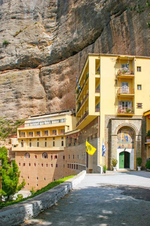 Mega Spileo Monastery: Its cells are built around the entrance of the cave.