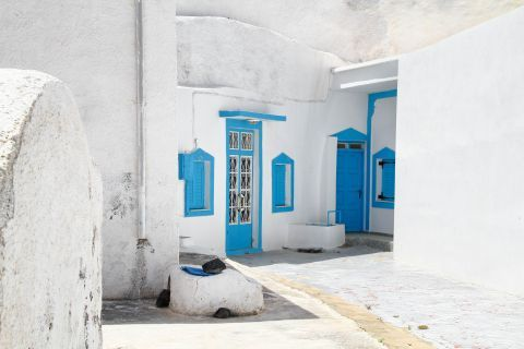 Thirassia Island: A Cycladic house in Thirassia, painted in white and blue colors
