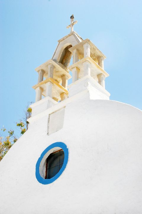 Catholic Church: The Catholic Church of Panagia Rodario in Mykonos is decorated in white and blue colors