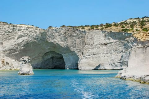 Sea Caves: The Caves of Milos are surrounded by turquoise waters