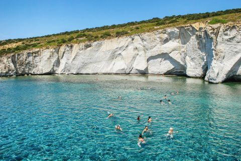 Sea Caves: The crystal clear waters of Milos.