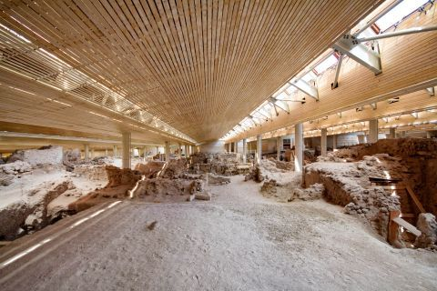 Akrotiri Minoan Site: The roof of the site protects the ancient remains from the strong winds of Santorini