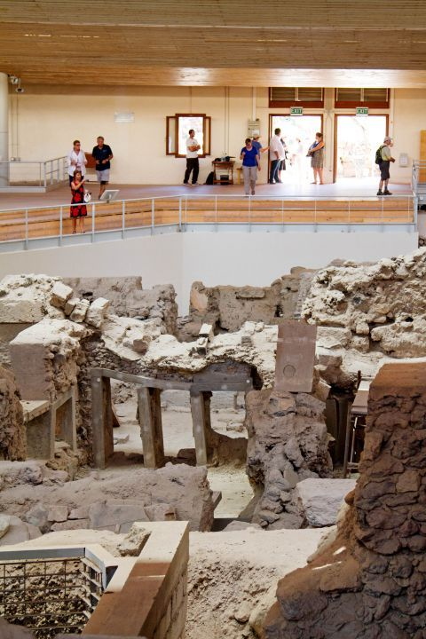 Akrotiri Minoan Site: Tourists can admire the ancient ruins of the Minoan Site