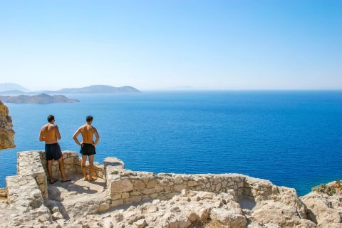 Castle of Kritinia: The Castle offers a breathtaking view of the Aegean Sea, the neighboring island of Halki and the port of Kameiros.