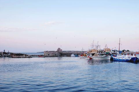 Venetian Castle: Boats floating next to the Venetian castle of Paros