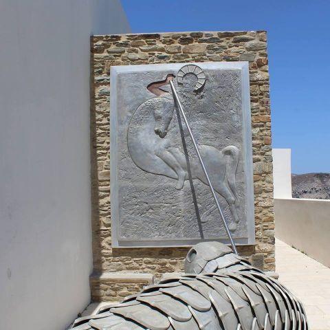Kostas Tsoklis Museum: The sculpture of Saint George slaying the dragon.