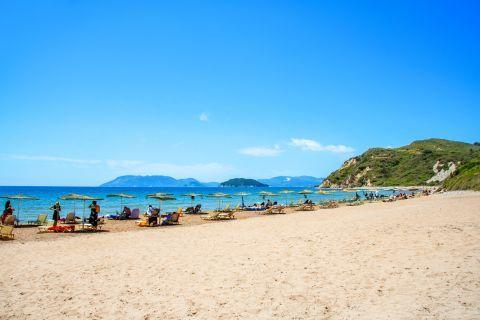 Gerakas: Umbrellas and sun loungers on Gerakas beach.