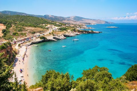 Makris Gialos: A beautiful scenery of land and sea view.