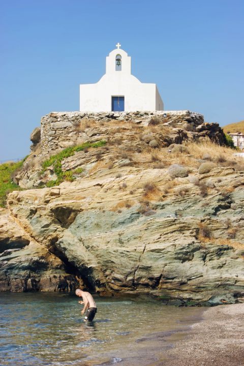Korissia beach: A whitewashed chapel, overlooking the sea