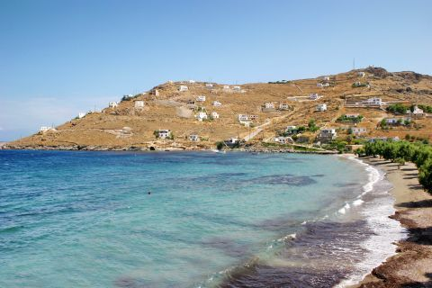 Agios Dimitrios: A few Cycladic houses, overlooking the sea