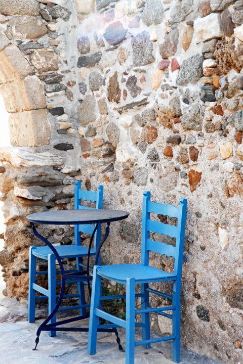 Town: Blue-colored church
