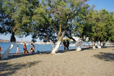 Pollonia beach: People relaxing under the trees on Pollonia beach
