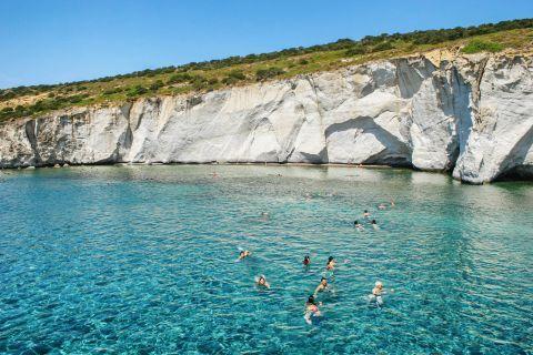Kleftiko: People enjoying the crystal clear waters