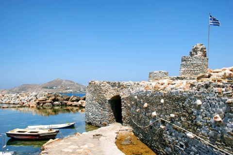 Naoussa: Fishing boats mooring close to the castle of Naxos
