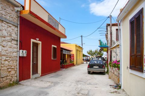 Frikes Village: A narrow street with colorful houses.