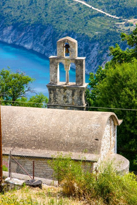 Exogi: A small chapel, overlooking the sea.