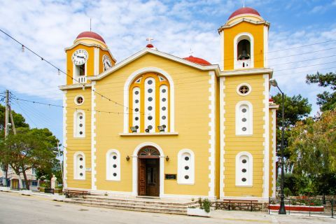 Stavros: Impressive church, painted in pale colors.