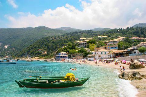 Agios Nikitas Village: Fishing boats are spotted on Agios Nikitas beach.