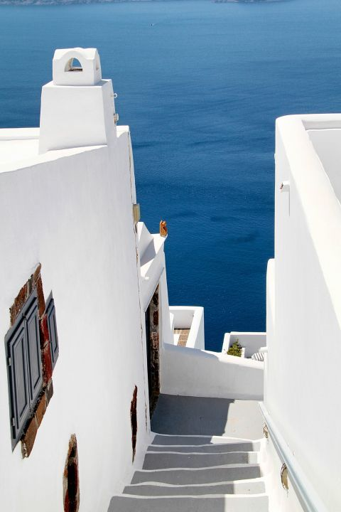 Firostefani: Whitewashed buildings are perfectly combine with the deep blue waters