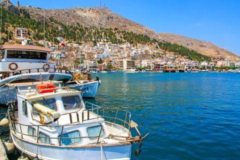 Pothia Town: Fishing boats on the harbor of Pothia.