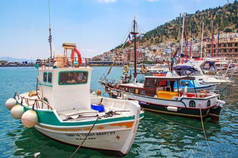 Pothia Town: Fishing boats.