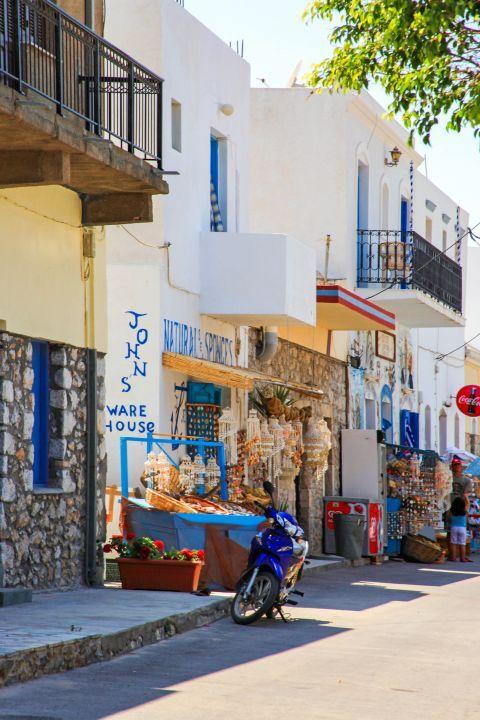 Vathy: Tourist shops in Vathy village.