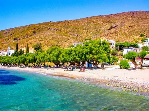 Emporio beach: Turquoise waters and trees that offer a wonderful shade.