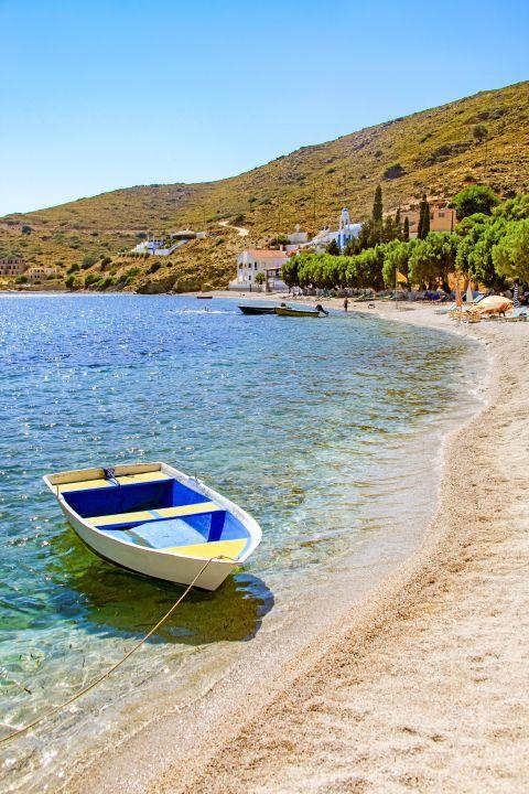 Emporio beach: A small fishing boat on Emporios beach.