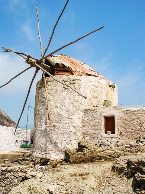Olympos: An old windmill in Olympos village.