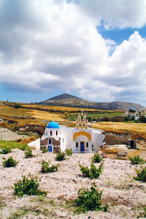 Megalochori: A white church with colorful details