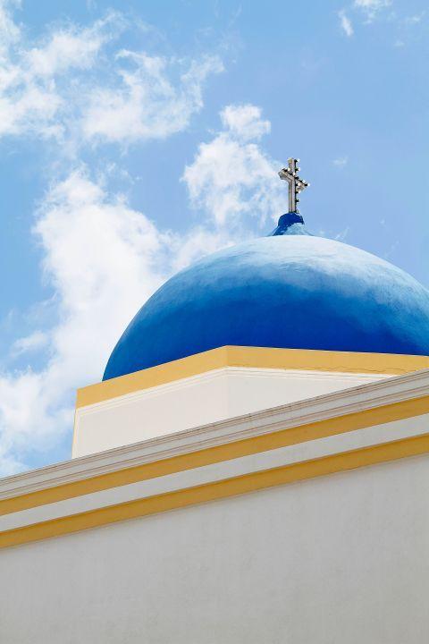Megalochori: A blue-colored dome