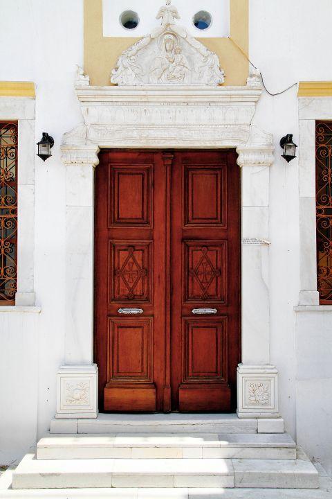 Megalochori: The wooden door of a church in Megalochori