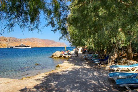 Nimborio or Emborios beach: A shaded spot on Emporio beach.