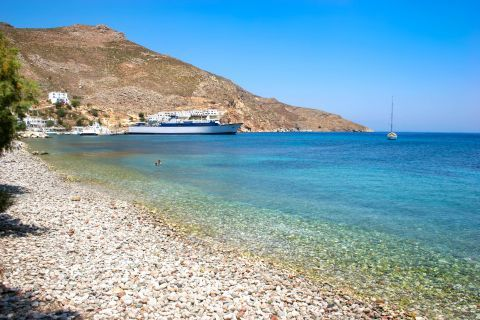 Livadia beach: Pebbled beach with azure waters.