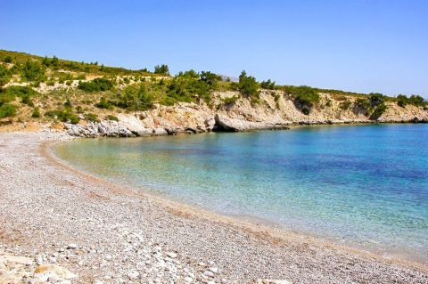Tigani Makria Ammos: Soft pebbles and crystal clear waters.