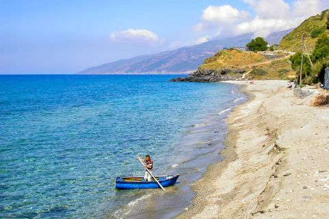 Kambos: The long sandy beach of Kambos is located 40 km north west of Agios Kyrikos, the capital of Ikaria.